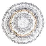 Sebra Häkel-Teppich Kinderteppich rund aus Baumwolle, Interior, Farbe:Grau/Beige