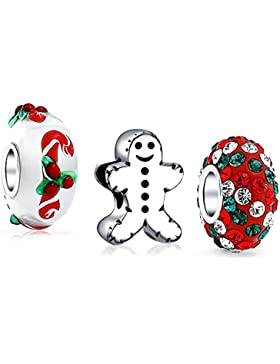 925 Sterling Silber Gingerbread Man Cookie Weihnachten Zuckerstange Raupe Charme