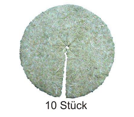 Mulchscheiben aus 100% Hanf, 10er Pack, Durchmesser: 30 cm, 10 mm dick (EUR 2,45 je Stück), Pflanzenschutzmatte, Unkrautschutzmatte, Winterschutzmatte, 100 % biologisch abbaubar, Lebensmittelqualität