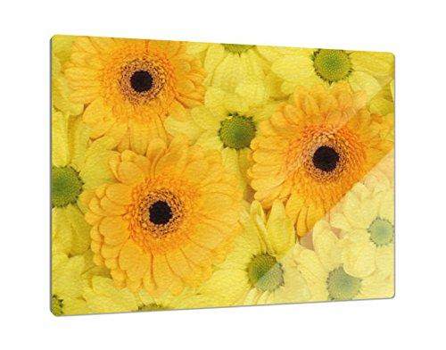 Klebefieber Glas-Schneidebrett Gelbe Blumen B x H: 39cm x 28cm