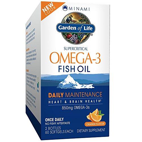 Garden of Life Minami Omega-3 Fish Oil Daily Maintenance - 120 Kapseln I Fischöl I EPA I DHA I Orangengeschmack
