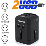 Adaptateur universel pour un meilleur voyage - MAXAH® Adaptateur universel de voyage + 2 ports USB/Tout-en-un adaptateur/adaptateur international/All-in-One Universal World Wide/Travel Adapter pour Union Européenne/UK/Australie/Etats-unis/Japon --- 2.5 A (NOIR)
