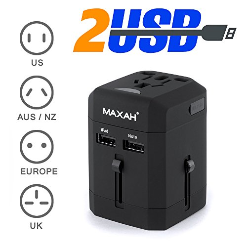 2.5A Adaptateur universel prise pour plus de 150 pays et région MAXAH Adaptateur universel de voyage 2 ports USB Tout-en-un adaptateur adaptateur international All-in-One Universal World Wide Travel Adapter pour Union Européenne UK Australie Etats-unisJapon 2.5A NOIR