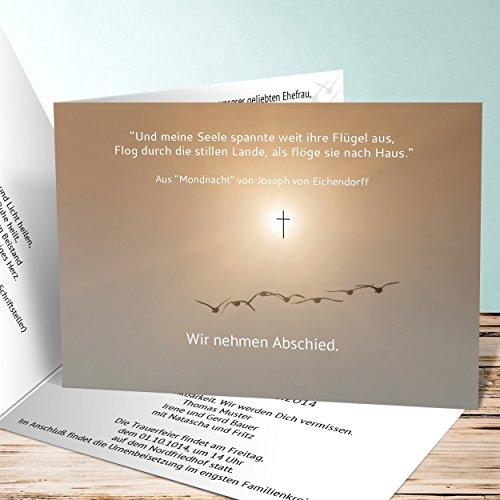 Einladungskarten Beerdigung, Vogelflug 500 Karten, Horizontale Klappkarte 148x105 inkl. weiße Umschläge, Weiß