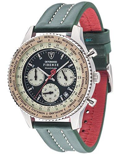 Detomaso Firenze Racing – Reloj de cuarzo para hombres, con correa de cuero de color verde, esfera negra
