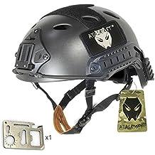 Ajustable SWAT Combate PJ tipo Fast–Casco de protección negro bk Dos Tamaños (M/L, L/XL) para Ejército CQB Disparo de estilo militar táctico para Airsoft y Paintball (diseño, negro