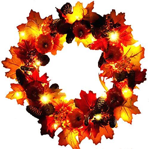 Cicik Kürbis Daisy Silk Herbst Kranz Ernte Haustür Kranz Bauernkranz für die Herbstsaison Thanksgiving erhellt Party Hochzeit Halloween Festival Dekor -