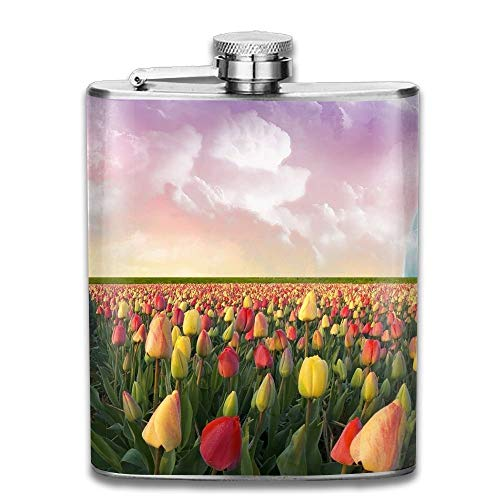 Stainless Steel Hip Flask 7 Oz (No Funnel) Tulips Nederlands Blue Planets Full Printed