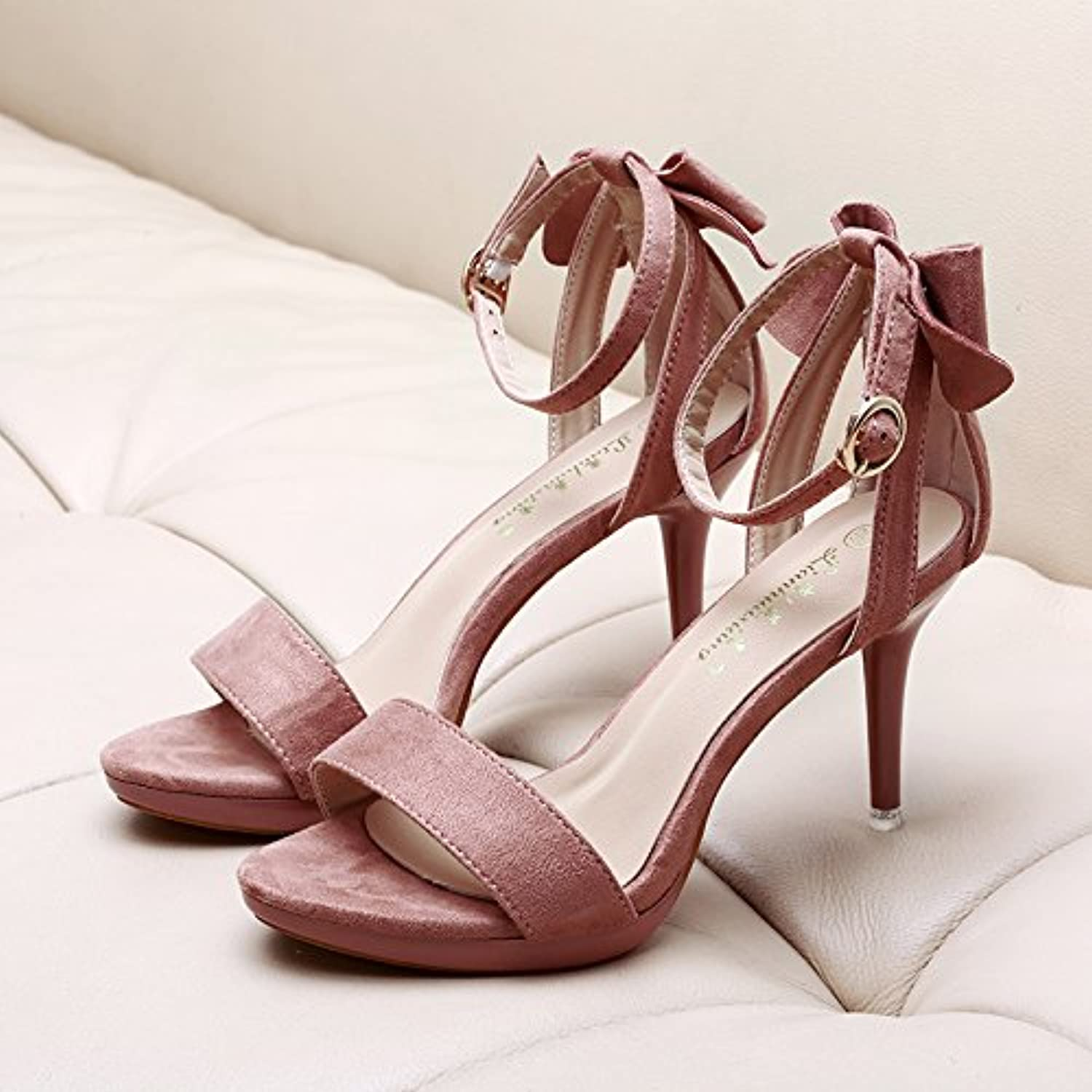 AGECC High Heel Shoes with Thin Waterproof Tables Bow Tie Suede Professional Toe Fairy and Sandals. Thirty-Five...