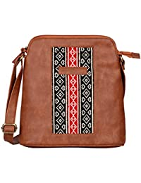 Kalamargam Collective Toda Embroidery & Vegan Leather Sling Bag (Multi-Coloured, KC-SB71)