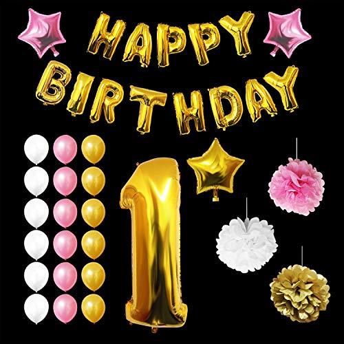 BELLE VOUS Luftballons Happy Birthday Banner Partyzubehör Set & Dekorationen - Alter 1 Folienballons Geburtstag - Gold, Rosa & Schwarz Latex - Ballon-Dekoration - Dekor für alle Erwachsenen geeignet