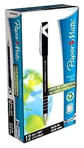 Papermate Flexgrip Ultra Stylo à bille à capuchon version recyclée Pointe moyenne Encre Noire Lot de 12