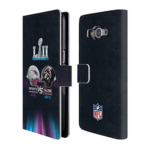 Head Case Designs Offizielle NFL Patriots Vs Eagles 1 2018 Super Bowl LII Versus Brieftasche Handyhülle aus Leder für Samsung Galaxy Grand Prime