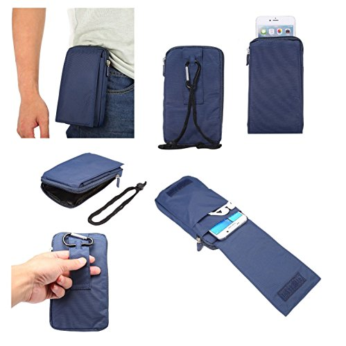 DFV mobile - Multi-Functional Universal Vertical Stripes Pouch Bag Case Zipper Closing Carabiner for => Samsung Gravity SMART > Blue XXM (18 x 10 cm)