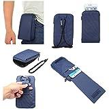 DFV mobile - Multi-functional Universal Vertical Stripes Pouch Bag Case Zipper Closing Carabiner for => LG G5 SE > Blue XXM (18 x 10 cm)