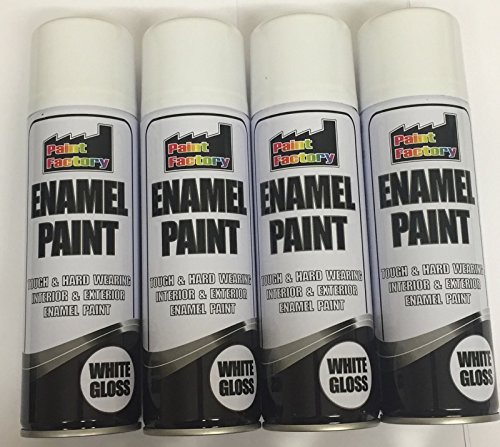 4-x-enamel-white-gloss-paint-spray-aerosol-250ml-radiator-metal-wood-etc-tough