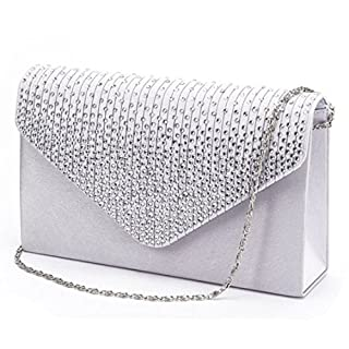 Clorislove Ladies Rhinestone Frosted Envelope Clutch Evening Bridal Handbag Purse (Silver)(Size:S)