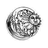 beyoutifulthings Ohr-Plug Sonne Mond Sterne Ohr-Piercing Ohr-Schmuck Chirurgenstahl Screw Flesh Tunnel Schraub-Verschluss Antik-Silber 10mm