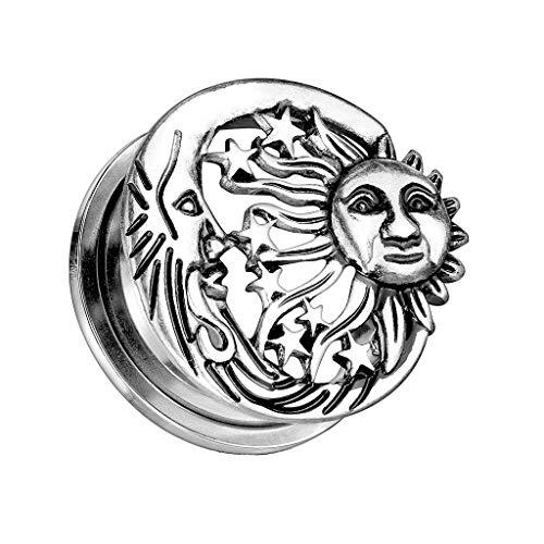 beyoutifulthings Ohr-Plug Sonne Mond Sterne Ohr-Piercing Ohr-Schmuck Chirurgenstahl Screw Flesh Tunnel Schraub-Verschluss Antik-Silber 6mm