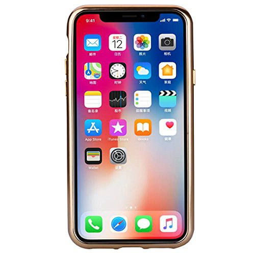 Slynmax Coque iPhone X Or Coque iPhone 10 Silicone Paillette Strass Brillante Bling Bling Glitter de Luxe Bumper Housse Etui de Protection [Ultra Fin] [Anti Choc] pour Apple iPhone X -Série Glamour