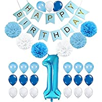 1st Birthday Decorations for Boys, Baby Boy 1st Birthday Decoration Pack Includes Blue Happy Birthday Banner, 38 Inch Blue Number One Balloon, 6 Tissue Paper Pom poms and 21 Party Balloons