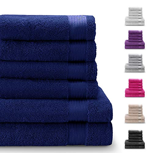Twinzen Chemikalien-Frei Handtuch Set (6-Teilig) mit 4 Handtücher und 2 Badetüchern, 100{23f4270ebf5114bcef62d1808aa880f08ca6b7ad8cfb7e3dde3641de11998a3b} Baumwolle - Oeko TEX Std 100 Zertifizierung - Weich und Saugstark - Waschmaschinenfest - Schwimmbad