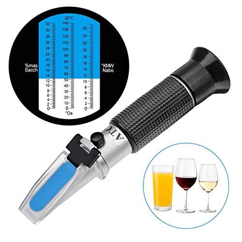 LIUMY Winzer Refraktometer 0-32 Brix (Zucker) 0-140 Öchsle 0-27 KMW mit ATC für Winzer Wein Bier Obst Frucht Wein, Refraktometer zur Messung des Zuckeranteils
