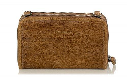 FREDsBRUDER sac 'Allrounder 2' messager en cuir de vachette ciré (19,5 x 12 x 4 cm) Brown (caramel anglais)