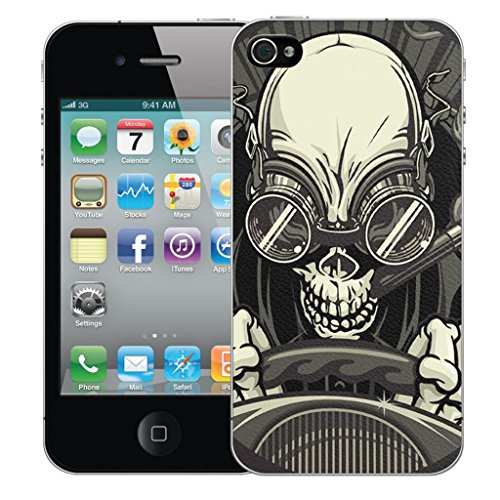 Mobile Case Mate iPhone 4s clip on Dur Coque couverture case cover Pare-chocs - elegant petal Motif driving skull