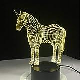 DHYWGS Einhorn 3D LED Nachtlicht mit 7 Farben Licht für Hauptdekoration Lampe Erstaunliche Sichtbarmachung Optische Täuschung Ehrfürchtiges Hologramm Weihnachtsbeleuchtung