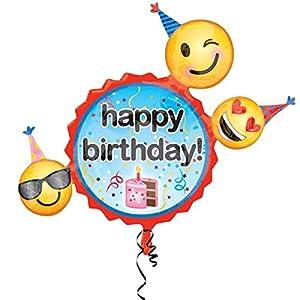Amscan-336130124x 24pulgadas Smiley Happy Birthday globos de papel de aluminio Super forma