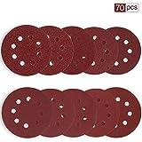 Rovtop Disque de Ponçage 70pcs Disques Abrasifs 40/60/80/100/120/180/240/320/400/600...