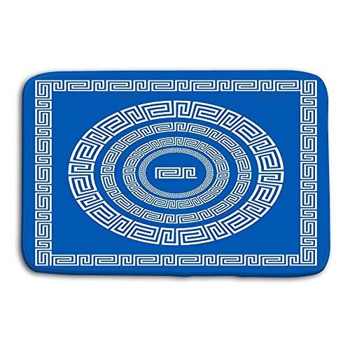 Küche Boden Bad Eingangstür Matten Teppich Set Pinsel zur Erstellung von griechischen Mäandermustern Proben deren Anwendung Runde quadratische Rahmen Griechische Grenzen Rutschfeste Badezimmermatten Griechischen Grenze