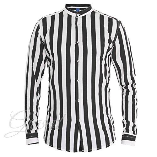 Giosal camicia uomo righe bicolore nero bianco collo coreano mod casual c1326a-m