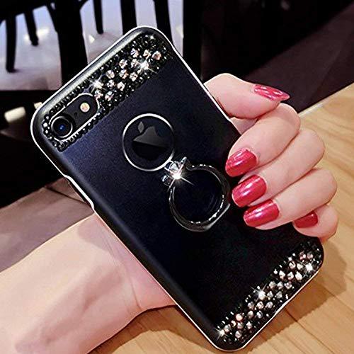 ikasefu iPhone 7Plus Case, iPhone 8Plus, Crystal Bling Ring Halterung glänzend stoßfest Luxus Glitzer Funkelnd Strass Diamant Hard Cover Schutz Hülle Bumper für iPhone 7Plus/8Plus schwarz Crystal Bling Case Cover