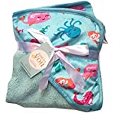 N&M Double Layer Velvet Fleece Newborn Printed Baby Blanket With Hood (Blue Fish)