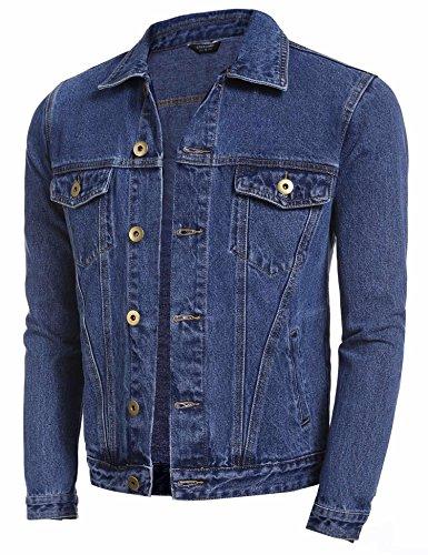 Coofandy Abrigo Vaquero Jean Jacket Hombre Clásico Azul Oscuro Botton Down S