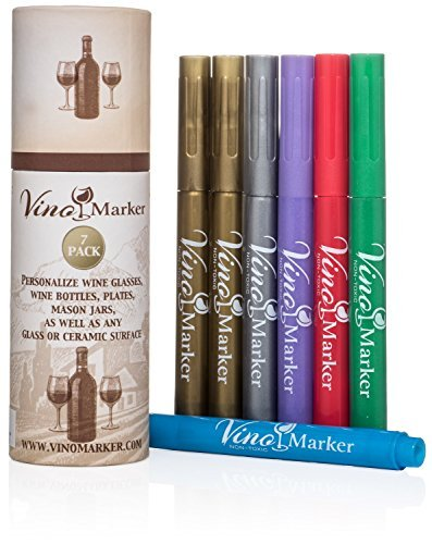 Vino Marker Metallic Wein Glas Stifte 7 Pack red, gold, silver, blue, green, purple