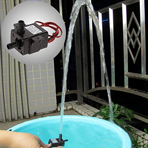 Gugutogo DC 12 V 240L/H Tauchwasser Elektrische Pumpe Mini Ultra Ruhig Schwarz Pumpe Mechanische Hardware Aquarium Pro Wasserpumpe (Farbe: Schwarz)