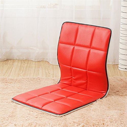 GHM Boden Stuhl Boden Stuhl faul Sofa japanischen Stil Bentwood Einzelbett Legless Dormitory Computer Stuhl (Farbe : Rot)