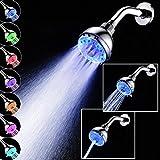 Zarupeng Duschkopf mit LED, Automatische 7 Farben Licht, Chrom, Wasserbad Badezimmer Filtration Dusche Spray mit Filter und Antikalk-Funktion (One Size, A(duschkopf ohne stange))