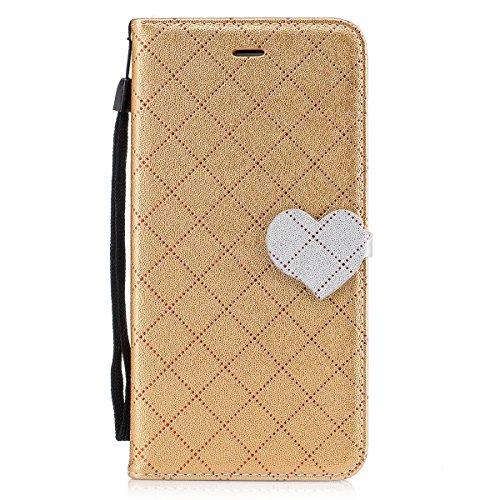 iPhone 6s Plus Hülle, iPhone 6 Plus Hülle, Lifetrut Grid & Heart Entworfen Magnetische Schützende Leder Flip Stand Brieftasche Hülle Case für iPhone 6s Plus/ 6 Plus [Grau] E202-Gold