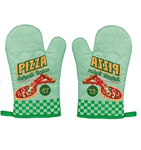 'Set of 2(1Pair) Stylish Vintage Diner Oven Gauntlet/Oven/BBQ Gloves–Beautiful Retro 50s Kitchen Gloves Oven Gloves with Hanging Hook–Beautiful Touch to Your Kitchen–Great Little Gift Idea–New, Authentic Italian Pizza