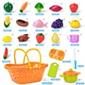 NextX Baby Toys Kitchen Pretend Play Velcro Cutting Food Set with Shopping Basket Educational Kids Toy - Gift for Boys and Girls