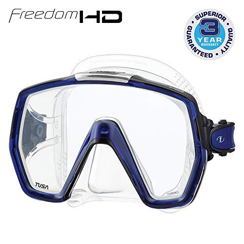 Tusa Freedom HD Erwachsene professionelle Tauch- und Schnorchelmaske, Silikon transparent / kobaltblau