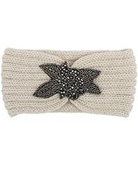 Diademas para mujer Sannysis Joyas para el pelo Cinta de punto Diademas hecha a mano (Beige)