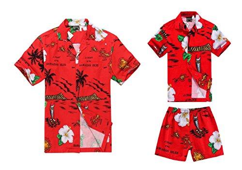 Passender Vater Son Hawaiian Luau Outfit Männer Hemd Jungen-Hemd Kurz Rotes Boot L-4