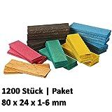 1200 x Holz Verglasungsklötze Set Glasklötze Unterleger 80x24x 1, 2, 3, 4, 5, 6 mm Hartholz Buche Distanzklötze Trageklötze Abstandshalter