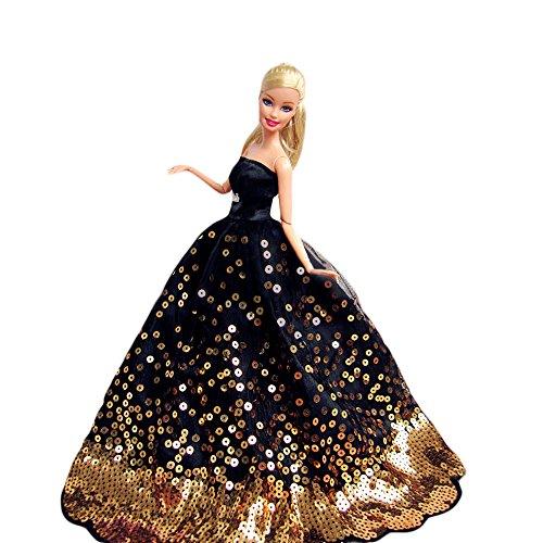 Creation Schwarz Versuchung Fantasie Handgemachte Hochzeit Kleid für 11.5 'barbie Doll- Schwarz