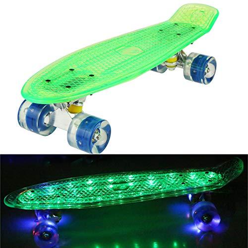 57cm Mini Cruiser Retro Skateboard Komplettboard Vintage Skate Board mit Kunststoff Deck und blinkenden LED-Rollen für Jugendliche und Erwachsene Jungen Mädchen Kinder (Rollen-skate-tasche)